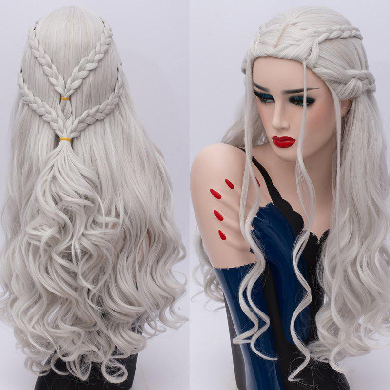 Long Wavy Braids Synthetic Game of Thrones Daenerys Targaryen Cosplay WigHAIR<br><br>Color: SILVER; Type: Full Wigs; Style: Wavy; Material: Synthetic Hair; Bang Type: Middle; Length: Long; Length Size(CM): 70; Weight: 0.3980kg; Package Contents: 1 x Wig;