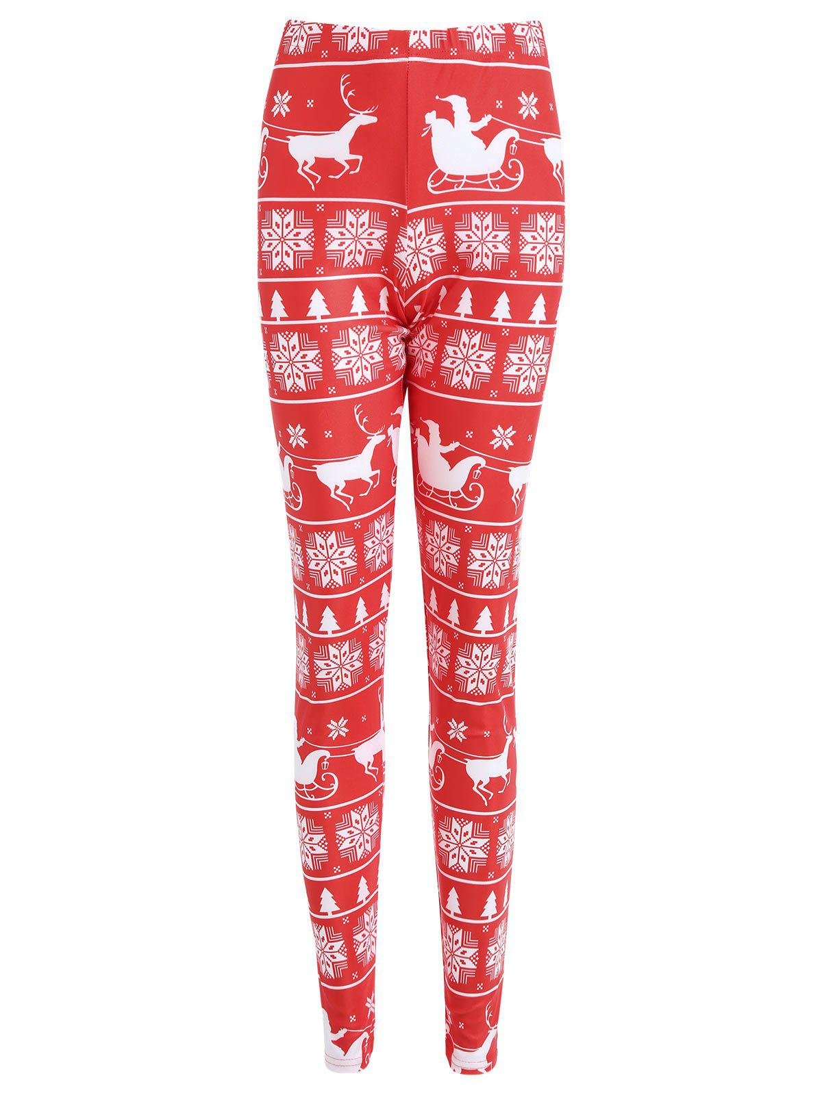 Christmas Snowflake Elk Print Plus Size LeggingsWOMEN<br><br>Size: 5XL; Color: RED; Style: Fashion; Length: Normal; Material: Cotton,Polyester,Spandex; Fit Type: Skinny; Waist Type: High; Closure Type: Elastic Waist; Pattern Type: Print; Pant Style: Pencil Pants; Weight: 0.2100kg; Package Contents: 1 x Leggings;