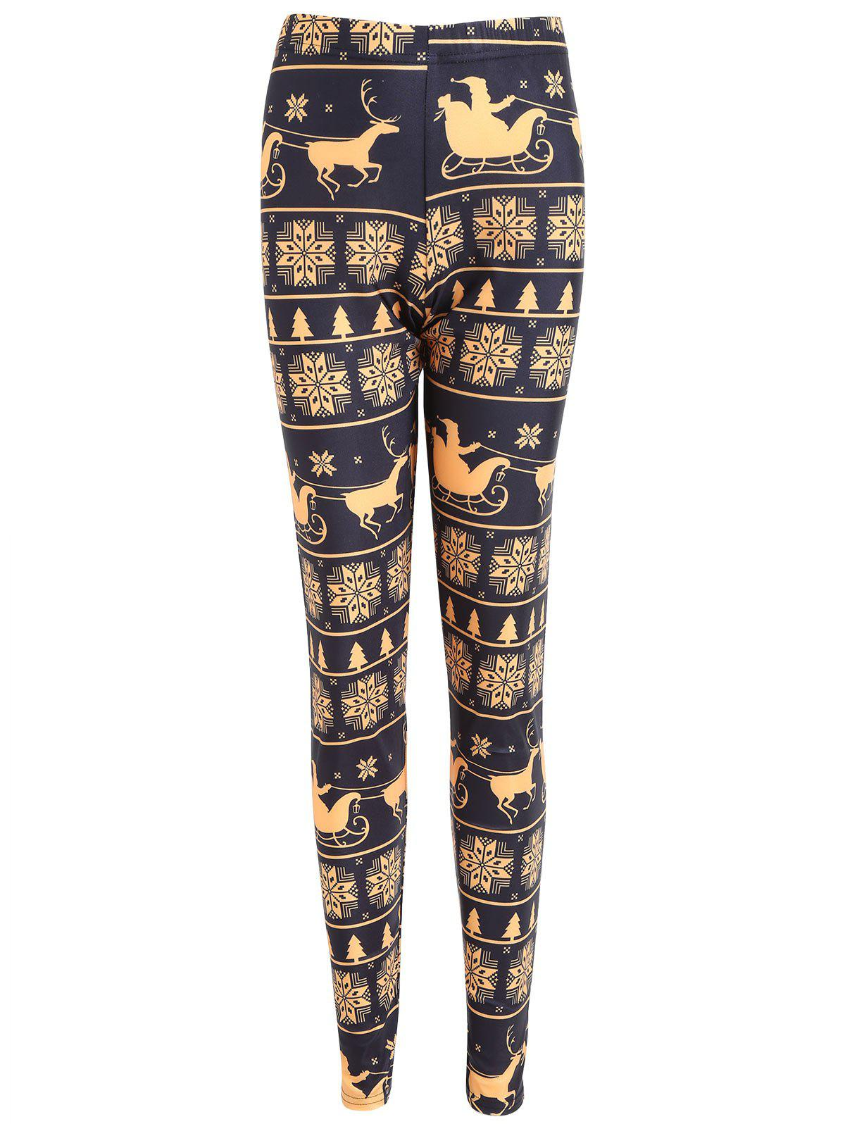 Christmas Snowflake Elk Print Plus Size LeggingsWOMEN<br><br>Size: 5XL; Color: BLACK; Style: Fashion; Length: Normal; Material: Cotton,Polyester,Spandex; Fit Type: Skinny; Waist Type: High; Closure Type: Elastic Waist; Pattern Type: Print; Pant Style: Pencil Pants; Weight: 0.2100kg; Package Contents: 1 x Leggings;