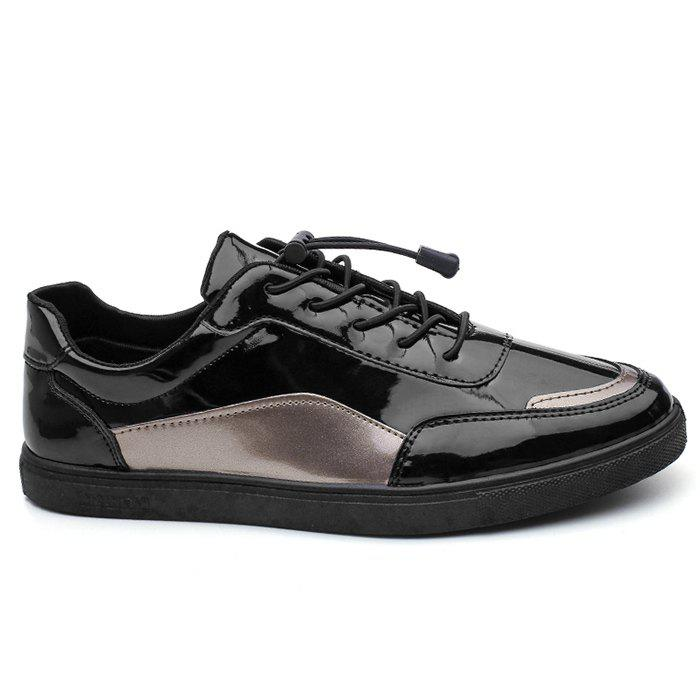 Trendy Low Top Patent Leather Casual Shoes