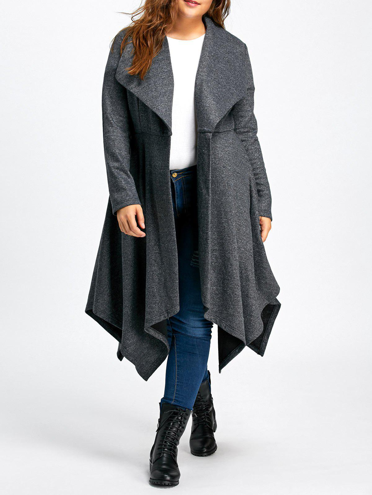 Long Handkerchief Plus Size Wool CoatWOMEN<br><br>Size: XL; Color: GRAY; Clothes Type: Wool &amp; Blends; Material: Polyester; Type: Asymmetric Length; Shirt Length: Long; Sleeve Length: Full; Collar: Turn-down Collar; Pattern Type: Solid; Style: Fashion; Season: Fall,Spring; Weight: 1.2500kg; Package Contents: 1 x Coat;