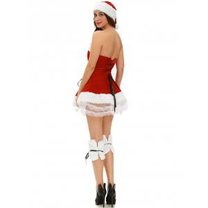 Strapless Velvet Christmas Dress Costume -