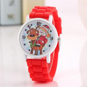 Christmas Deer Santa Face Silicone Strap Watch - RED