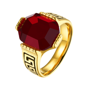 Engraved Faux Ruby Fret Finger Ring - RED 7