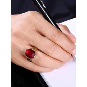 Engraved Faux Ruby Fret Finger Ring - RED 8