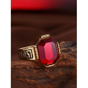 Engraved Faux Ruby Fret Finger Ring - RED 9