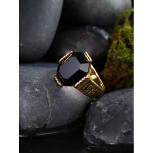 Engraved Faux Ruby Fret Finger Ring - BLACK 10