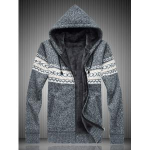 Pull à capuche en tricot Zip Up - Gris 3XL