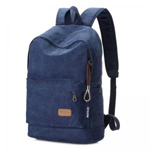 Stitching Solid Color School Backpack - BLUE