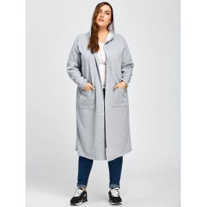 Plus Size Longline Hooded Coat with Pocket -