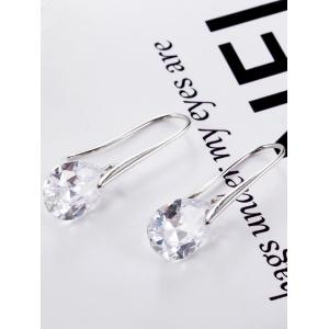 Vintage Faux Rhinestone Water Drop Earrings -