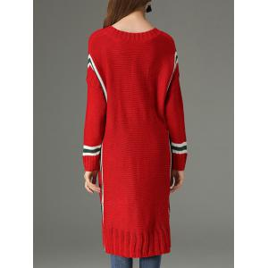 High Low V Neck Sweater Dress - RED ONE SIZE