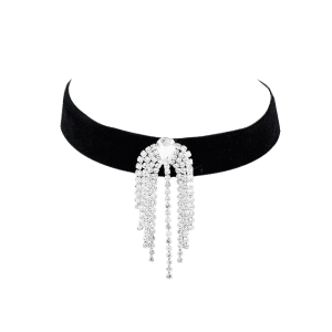 Faux Diamond Fringed Alloy Choker Collier -