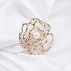 Sparkly Rhinestone Faux Pearl Flower Brooch - GOLDEN