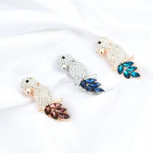 Faux Crystal Rhinestoned Bird Brooch -