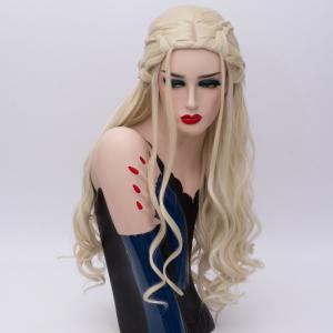 Perruque Long Ondé Tresse Synthétique Game of Thrones Cosplay Daenerys Targaryen - Or Clair