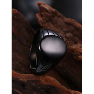 Engraved Claw Oval Finger Ring - BLACK 8