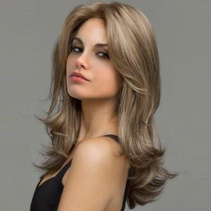 Medium Layered Fluffy Slightly Curled Synthetic Wig -