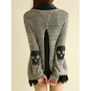 Skull Sweater with Shirt Dress - GRAY ONE SIZE