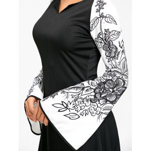 Flower Printed Raglan Sleeve Maix Dress - BLACK M