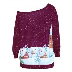 Christmas Evening Printed Plus Size Skew Neck Sweatshirt -