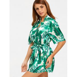 Wrap Tropical Leaves Print Sleep Robe -