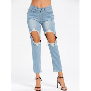 Ninth Cut Out Jeans - LIGHT BLUE 2XL
