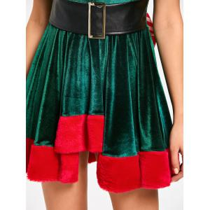 Lace Up Bowknot Mini Christmas Dress -