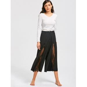 Eyelash Lace Panel Wide Leg Pants - BLACK XL