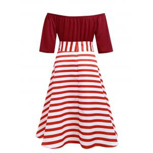 Stripe Plus Size Christmas Party Knee Length Dress -