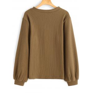Ribbed Lantern Sleeve Casual Sweatshirt - DARK KHAKI S