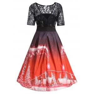 Plus Size  Lace Panel Vintage Christmas Party Dress -
