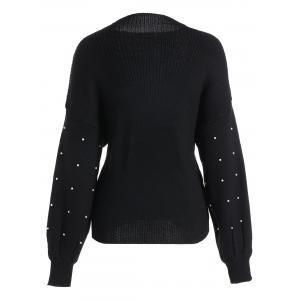 Plus Size Beading Cute Mock Neck Sweater -