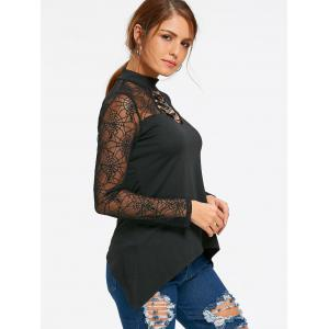 Halloween Spider Web Lace Up Sheer Top -