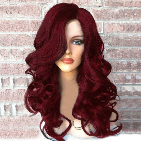 Discount Side Part Long Fluffy Wavy Synthetic Wig - WINE RED  Mobile