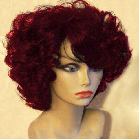 Unique Short Side Bang Fluffy Afro Curly Synthetic Wig