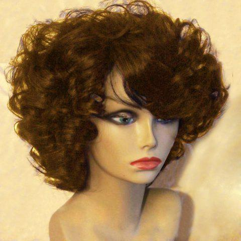 Best Short Side Bang Fluffy Afro Curly Synthetic Wig BROWN