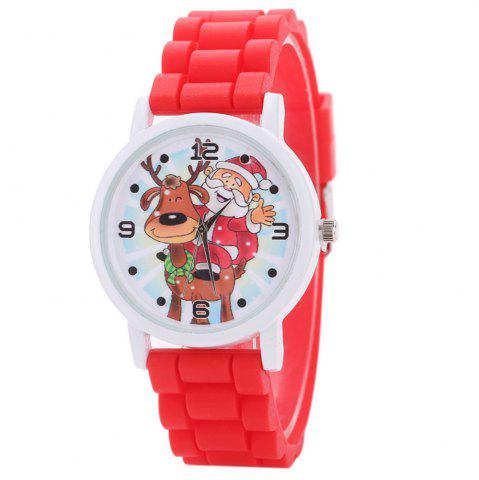 Best Christmas Deer Santa Face Silicone Strap Watch RED