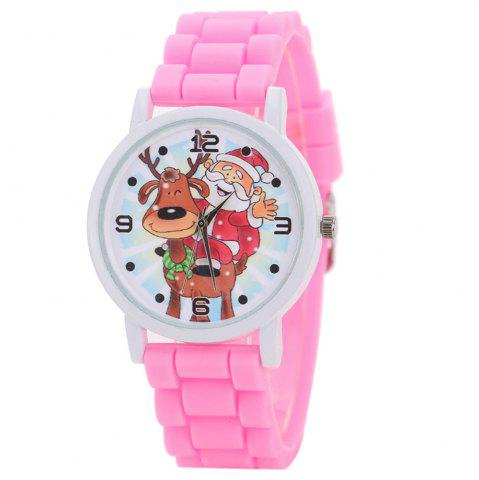 Outfits Christmas Deer Santa Face Silicone Strap Watch