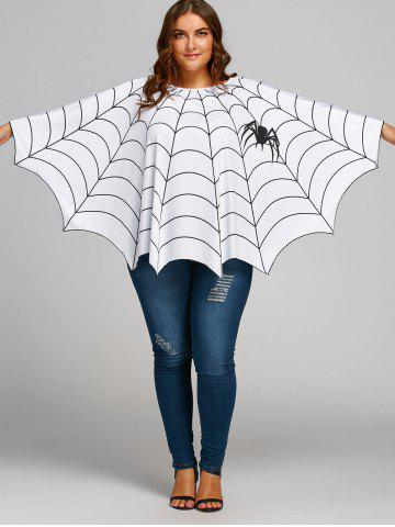 Affordable Halloween Spider Web Plus Size Poncho Blouse - ONE SIZE WHITE Mobile