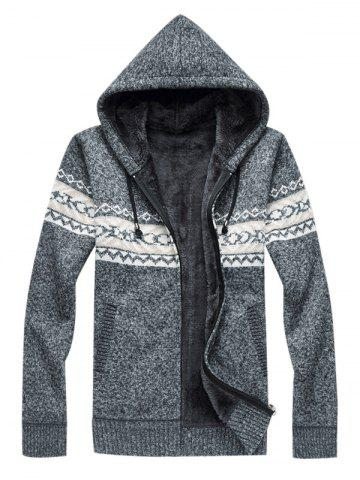 Pull à capuche en tricot Zip Up Gris 3XL