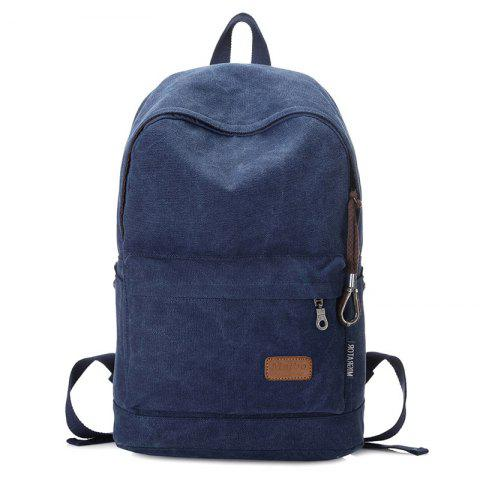 Hot Stitching Solid Color School Backpack BLUE