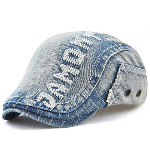 Shop Letter Pattern Denim Newsboy Hat DENIM BLUE