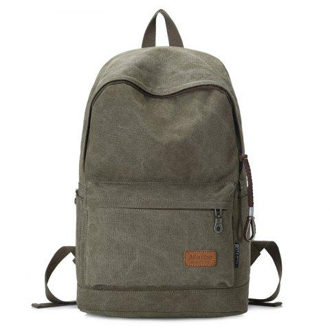 Affordable Stitching Solid Color School Backpack - ARMY GREEN  Mobile
