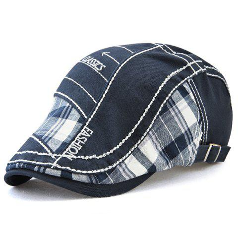 Outfit Retro Patchwork Pattern Embroidery Newsboy Hat - DEEP BLUE  Mobile