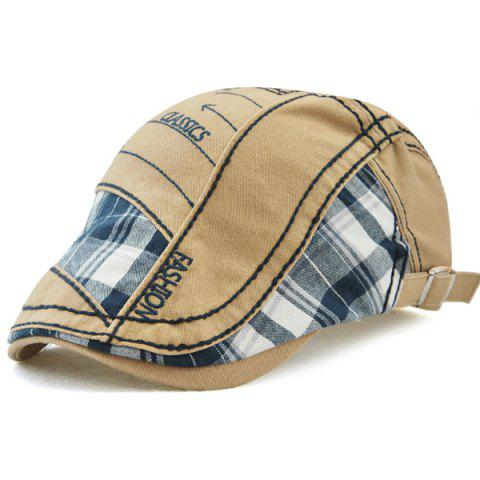 Hot Retro Patchwork Pattern Embroidery Newsboy Hat - KHAKI  Mobile