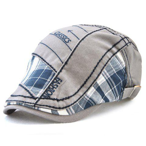 Buy Retro Patchwork Pattern Embroidery Newsboy Hat