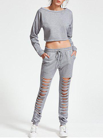 Unique Ripped Sweatshirt with Jogger Pants - S GRAY Mobile
