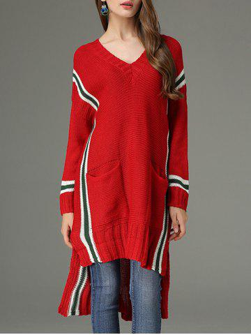 Shops High Low V Neck Sweater Dress - ONE SIZE RED Mobile