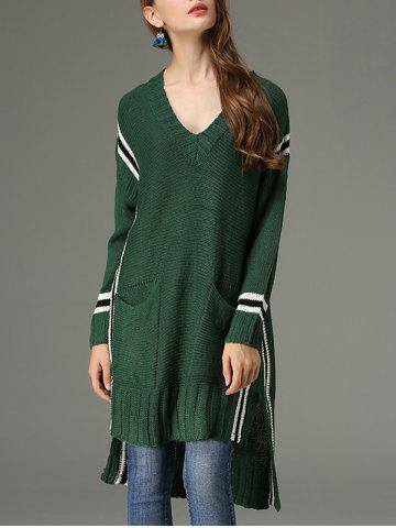 Affordable High Low V Neck Sweater Dress - ONE SIZE GREEN Mobile